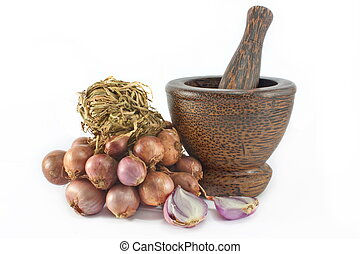 Red onion and mortar isolated on white background