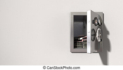 Open Safe On Wall With British Pounds