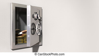 Open Safe On Wall With South African Rands - An open metal...