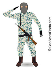 soldier with rifle. - Young soldier with mask and rifle....