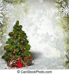 Christmas card - Christmas and New Year card Christmas tree...