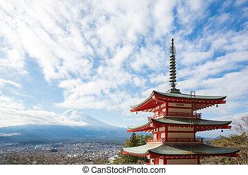 vermelho, pagode, montanha, Fuji, Japão