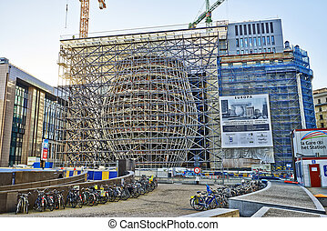 BRUSSELS, BELGIUM - DECEMBER 10: The Europa building construction on december 10, 2013 in Brussels. Europa building is the new headquarters of the European Council and the Council of the EU