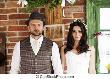 Bride and groom country style wedding - Beautiful bride and...