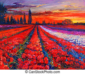Poppy fields - Original oil painting of Opium poppy Papaver...