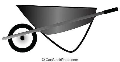 Wheelbarrow - A builders wheelbarrow isolated over white