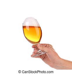玻璃, 手, 泡沫, 啤酒