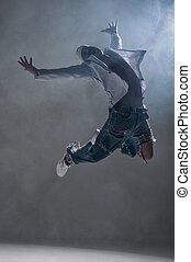 hip-hop, dançarino, estúdio