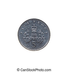 Coin isolated - Five Pence coin isolated over a white...