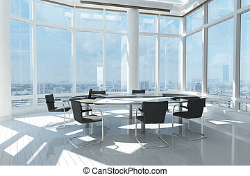 Modern office with many windows and city landscape