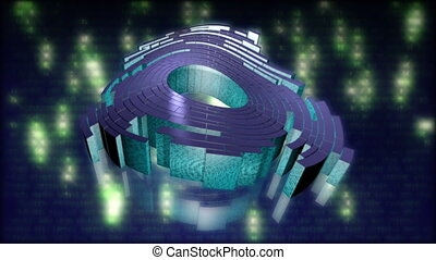 data packet - matrix - Abstract Animation on computer...
