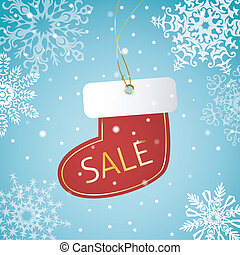 Christmas sock sale tag on a snowy background