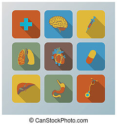 Retro Health And Organ Flat Icons Set