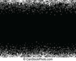 Frame with small snowflakes layered - Horizontal frame with...
