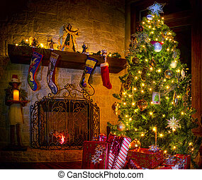 Christmas in the Family Room - Cozy Christmas scene...