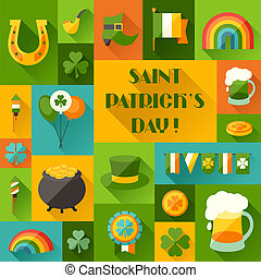 Saint Patricks Day background in flat design style