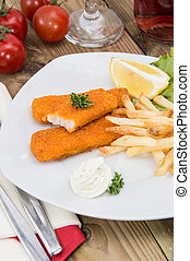 Portion of Fish Fingers with Remoulade