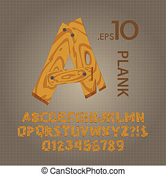 Wood Plank Alphabet and Numbers Vector