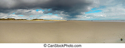 Beach under a dramatic, moody sky panorama