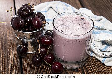 Homemade Cherry Shake with fresh fruits