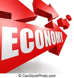 Economy arrow red image with hi-res rendered artwork that...