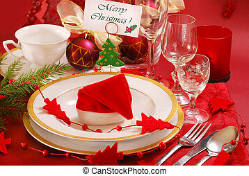 christmas table setting - decoration of christmas table in...