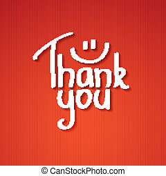 thank you - Thank You text paper sticker, vector...