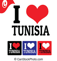 I love Tunisia sign and labels on white background, vector...