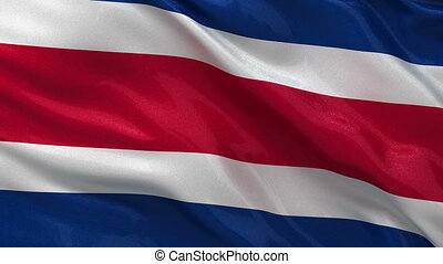 Flag of Costa Rica seamless loop - Flag of Costa Rica waving...
