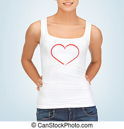 woman in white tank top with heart on it - relationships...