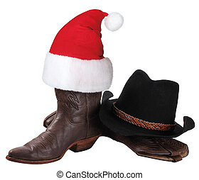 American cowboy hat and western shoes for Christmas holiday...