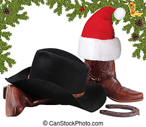 Santa red hat with cowboy boots.Christmas objects isolated...