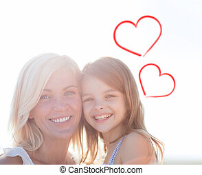 happy mother and child girl - summer holidays, family,...