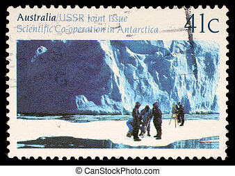 A stamp printed in the Australia shows Glaciology, Cooperation in Antarctic Research