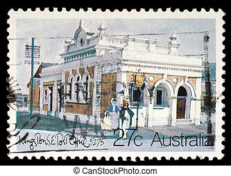 A Stamp printed in AUSTRALIA shows the Historic Australian Post Offices, Kingston Southeast