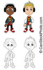 Hip hop boys cartoon collection - Happy hip hop kids...