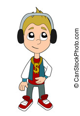Hip hop boy cartoon - Happy hip hop kid illustration...