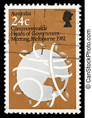A stamp printed in Australia shows Commonwealth Heads of...