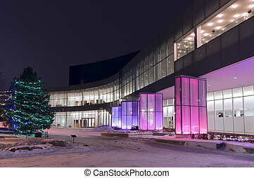 Performing Arts Center Entrance and Facade - Colored glass...