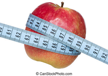 Body weight control concept - Apple and measuring tape...