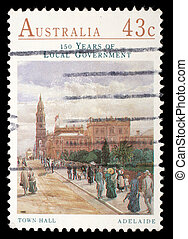 A stamp printed by Australia, shows Town Hall, Adelaide