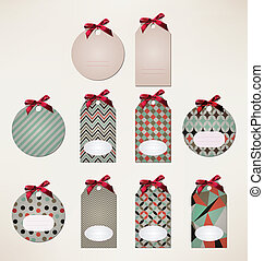 Price tags collection with ribbon