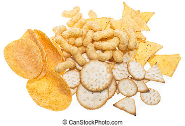 Snacks isolated on white background