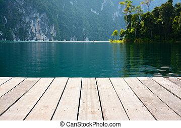 wood terrace on the lake,Cheow Lan lake, Khao Sok National...