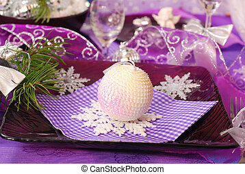 christmas table decoration in purple color - glamour...