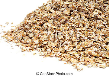rolled oats - a pile of rolled oats on a white background