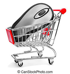 a computing mouse in a shopping cart on a white background,...