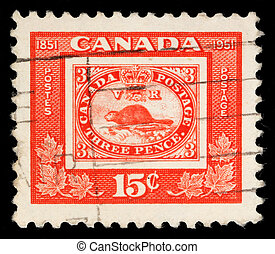 A stamp printed in Canada issued for the centenary of First...