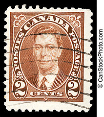 A stamp printed in Canada, shows portrait of King George VI...
