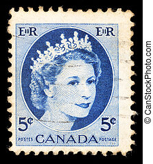 A stamp printed in Canada shows Queen Elizabeth II - CANADA...